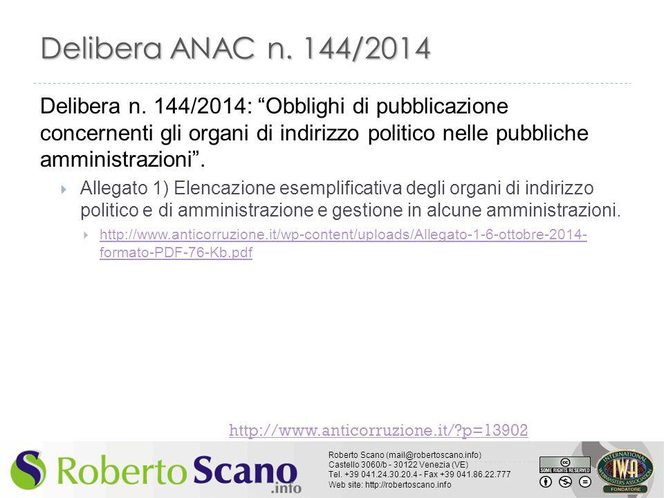 Delibera ANAC n. 144/2014