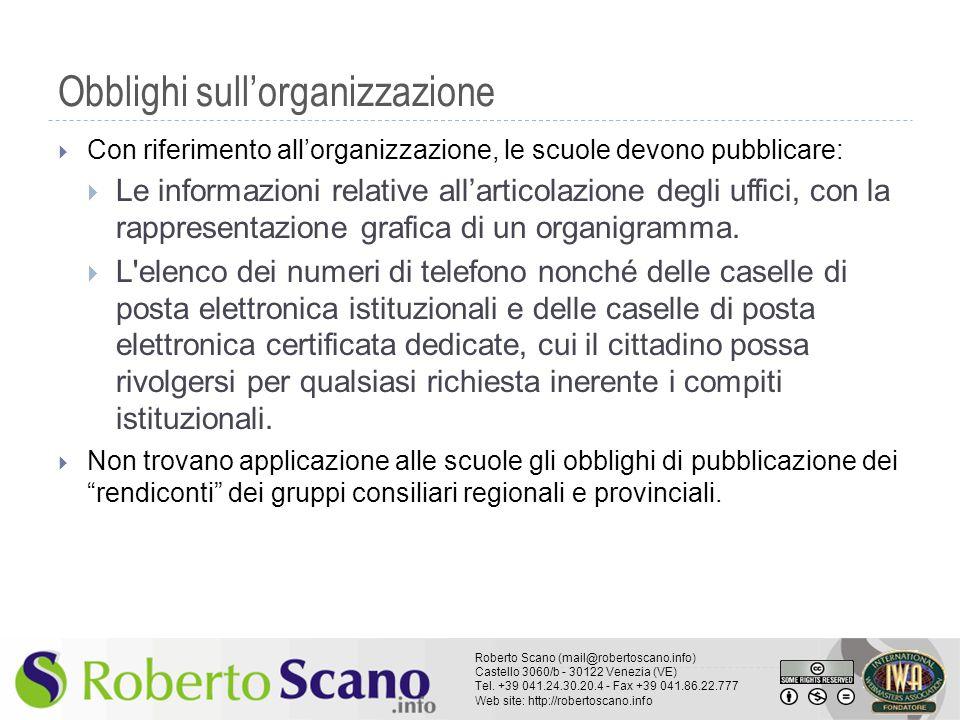 Obblighi sull'organizzazione