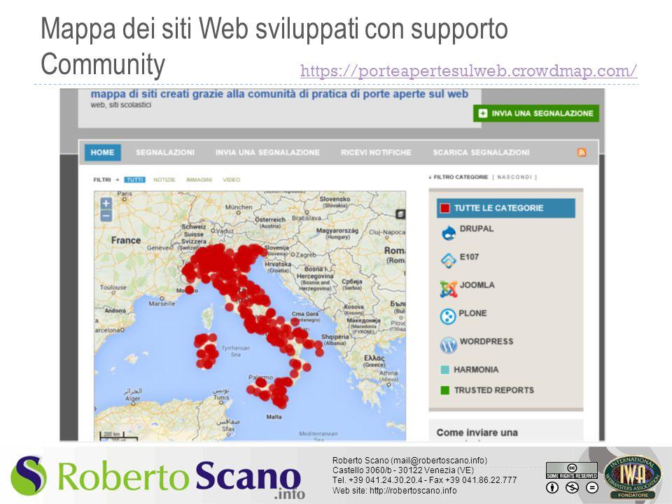 Mappa dei siti Web sviluppati con supporto Community