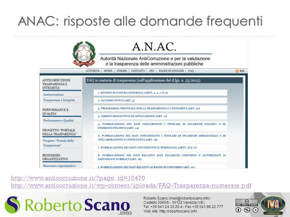 ANAC: risposte alle domande frequenti