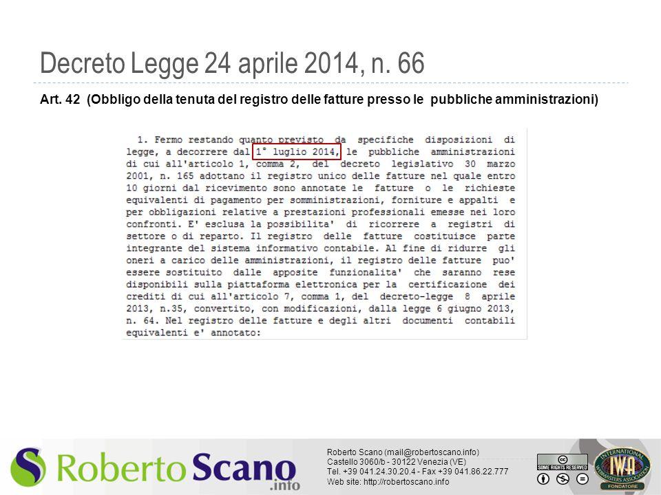 Decreto Legge 24 aprile 2014, n. 66 Art.