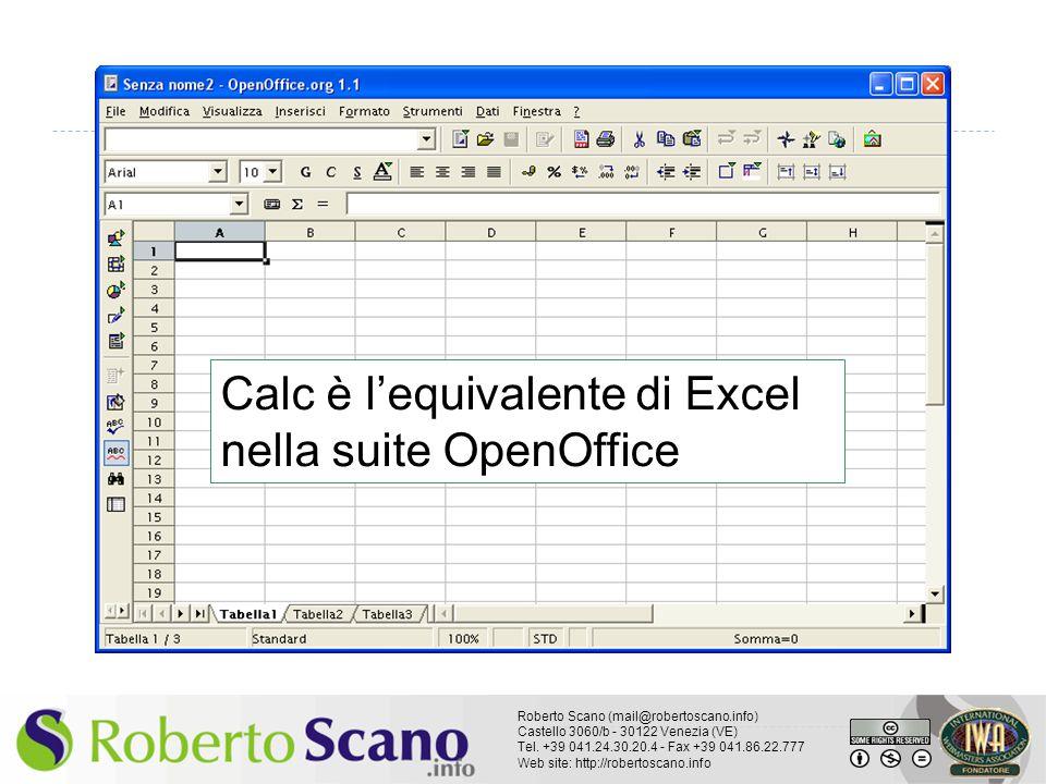 Calc è l'equivalente di Excel nella suite OpenOffice