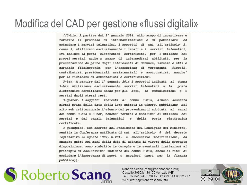 Modifica del CAD per gestione «flussi digitali»