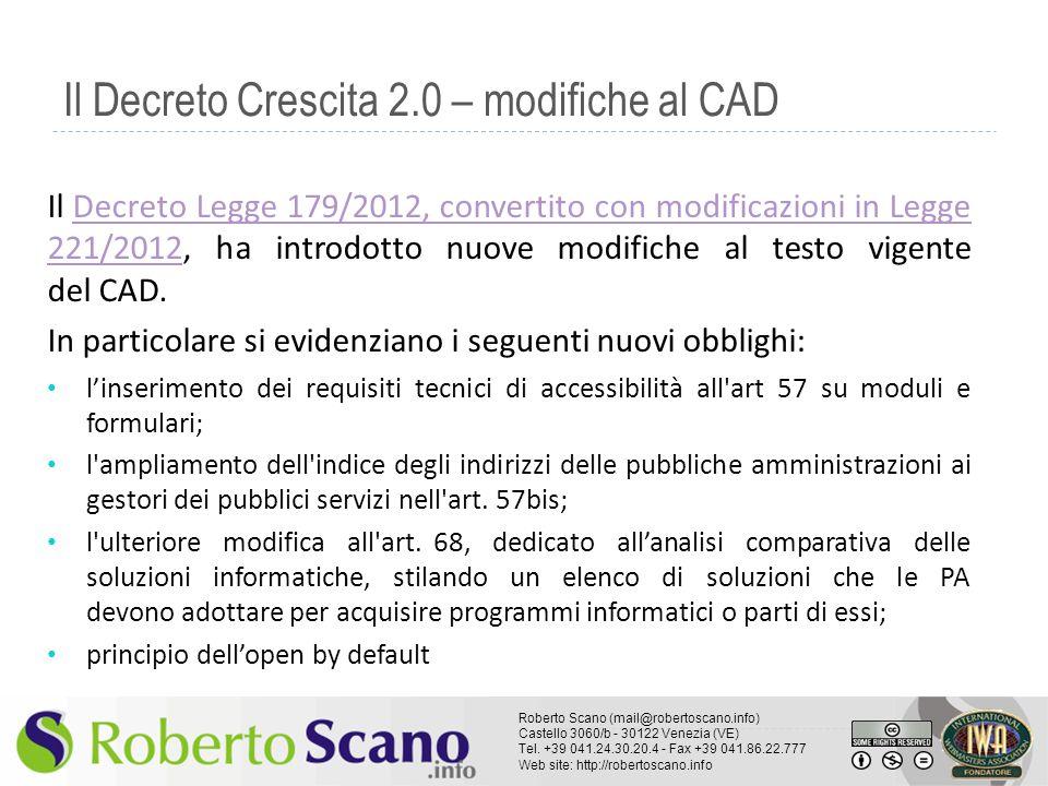 Il Decreto Crescita 2.0 – modifiche al CAD