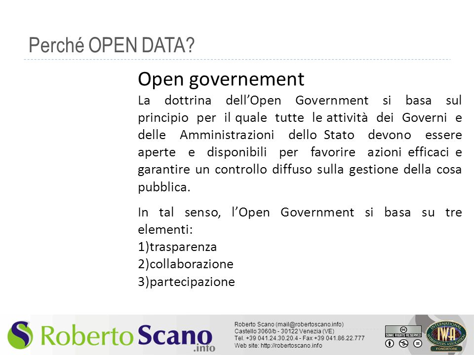 Perché OPEN DATA Open governement