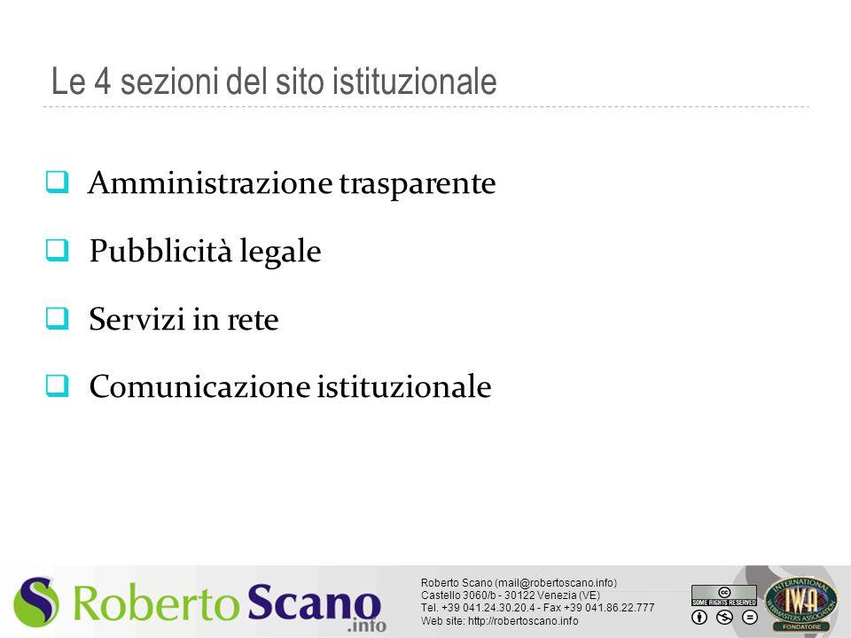 Le 4 sezioni del sito istituzionale
