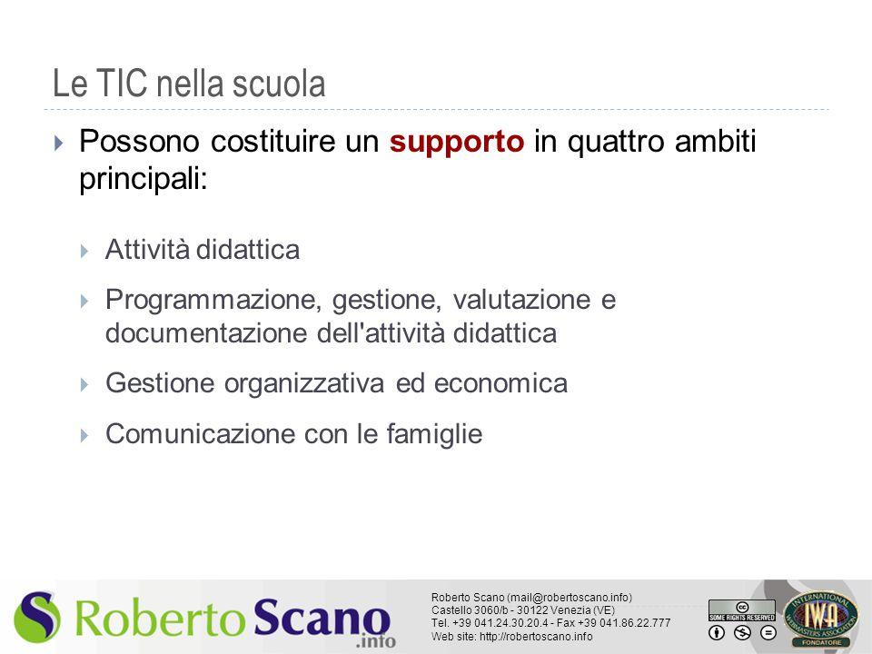 Le TIC nella scuola Possono costituire un supporto in quattro ambiti principali: Attività didattica.
