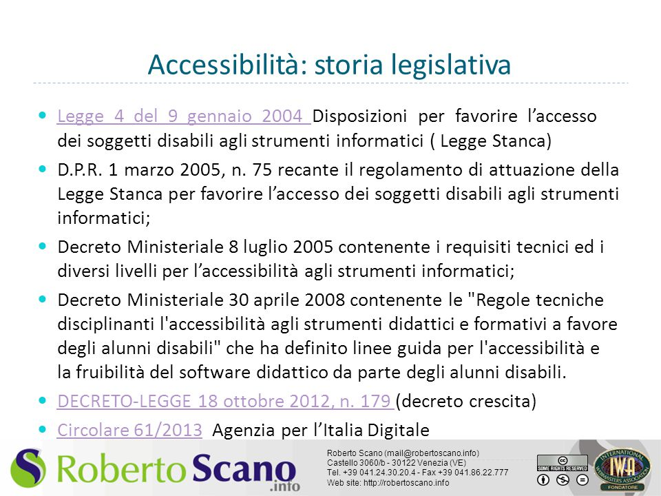Accessibilità: storia legislativa