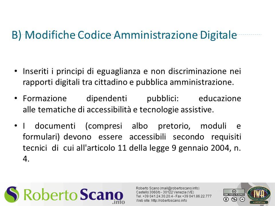 B) Modifiche Codice Amministrazione Digitale