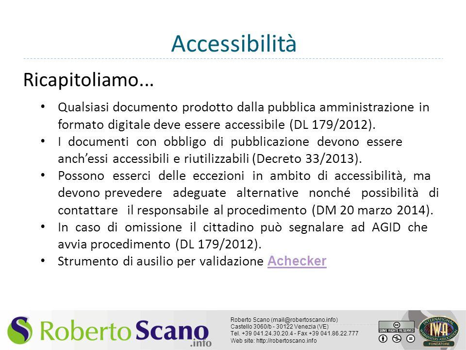 Accessibilità Ricapitoliamo...