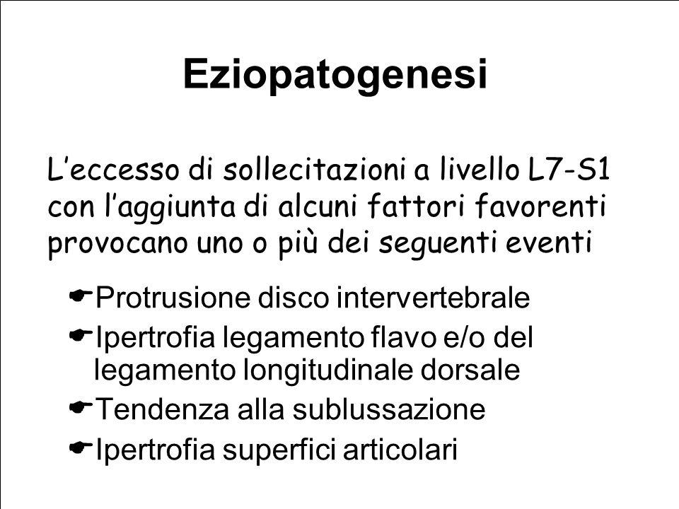 Eziopatogenesi L'eccesso di sollecitazioni a livello L7-S1 con l'aggiunta di alcuni fattori favorenti provocano uno o più dei seguenti eventi.