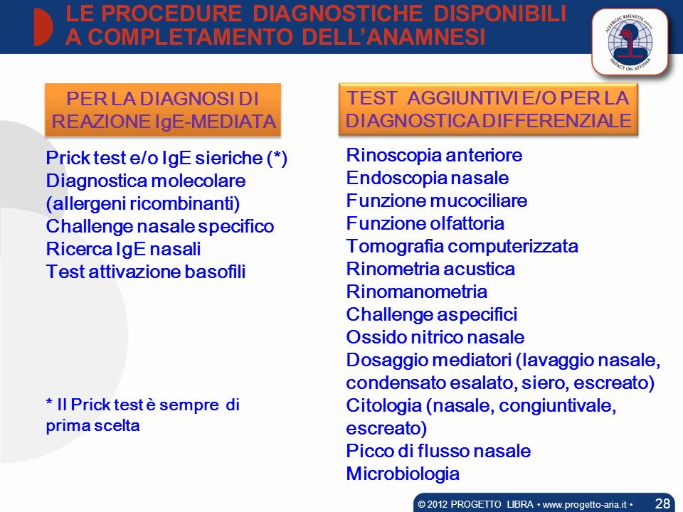 LE PROCEDURE DIAGNOSTICHE DISPONIBILI A COMPLETAMENTO DELL'ANAMNESI