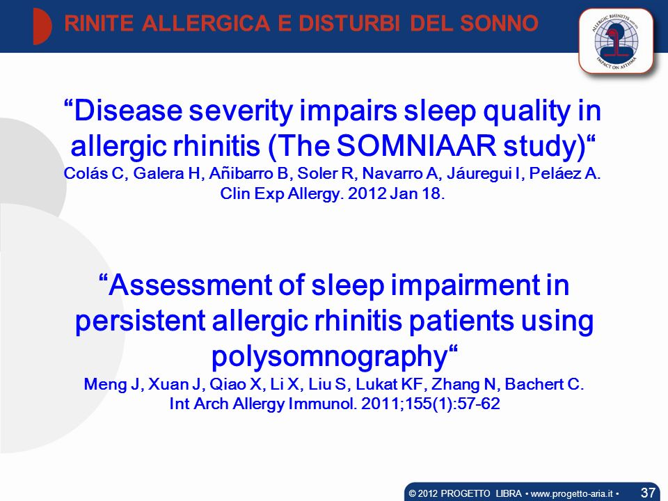 RINITE ALLERGICA E DISTURBI DEL SONNO