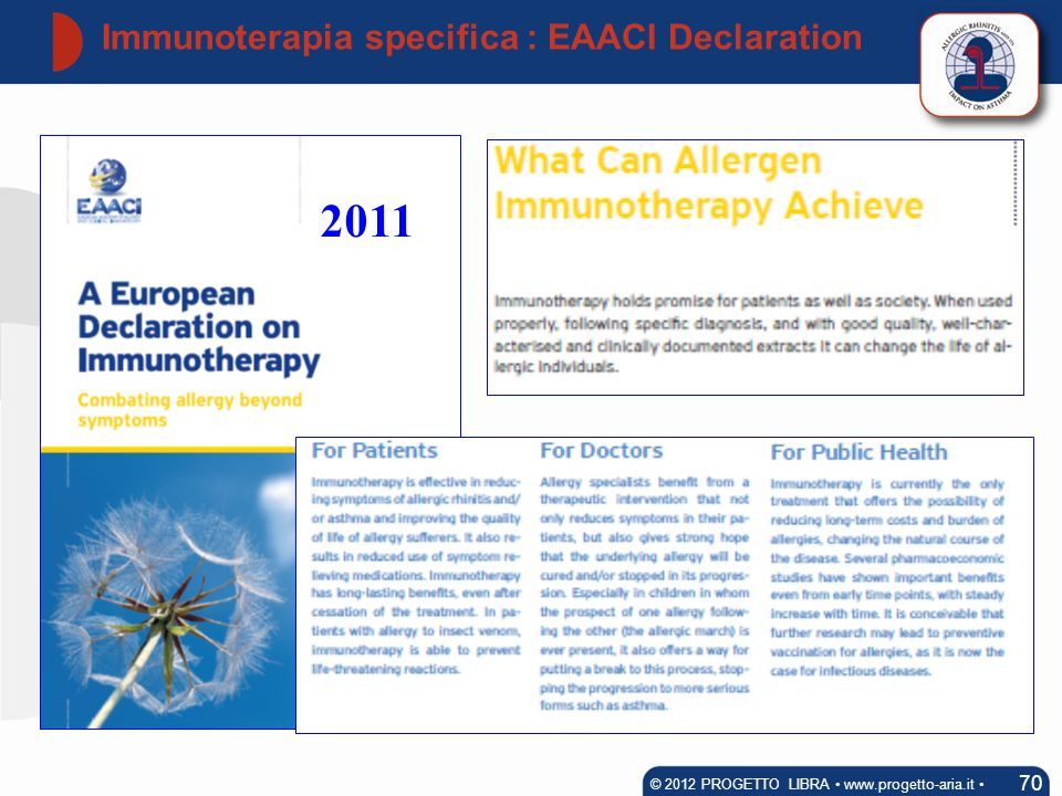 Immunoterapia specifica : EAACI Declaration