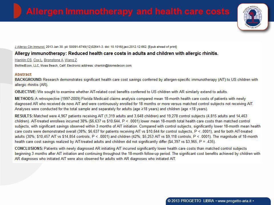 Allergen Immunotherapy and health care costs