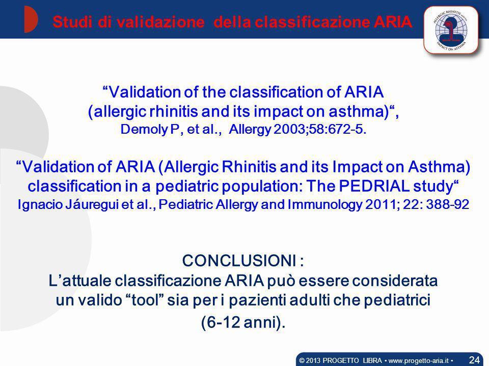 Studi di validazione della classificazione ARIA