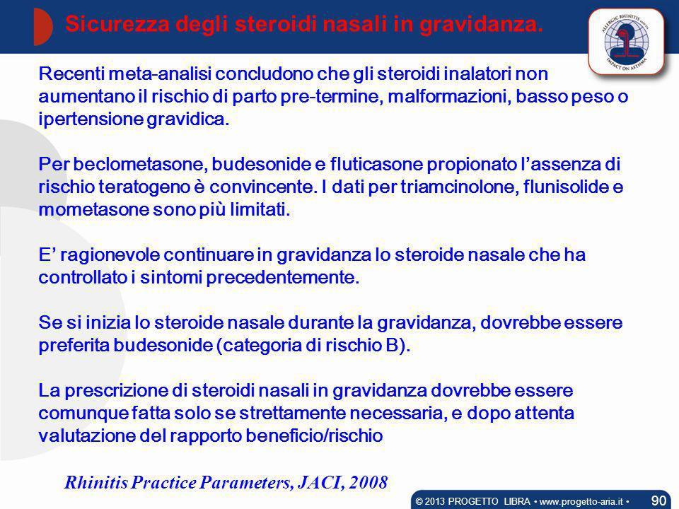 Sicurezza degli steroidi nasali in gravidanza.
