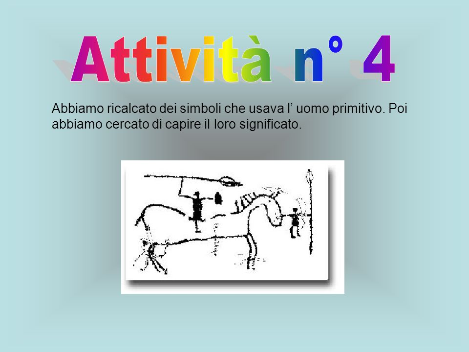 Attività n° 4 Abbiamo ricalcato dei simboli che usava l' uomo primitivo.