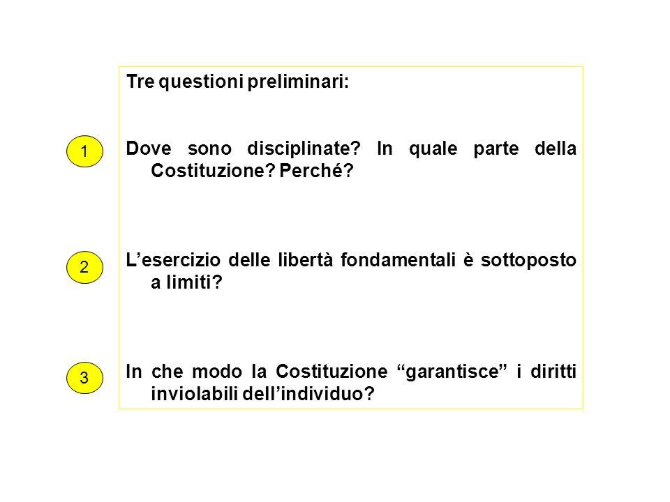Tre questioni preliminari: