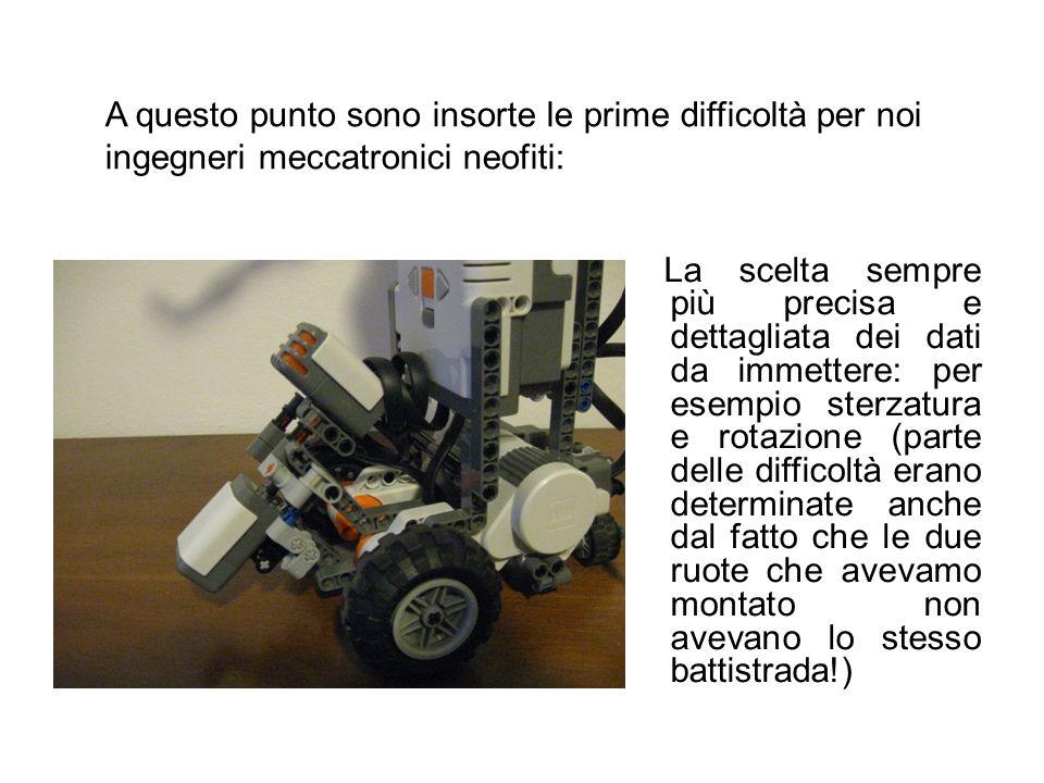 A questo punto sono insorte le prime difficoltà per noi ingegneri meccatronici neofiti: