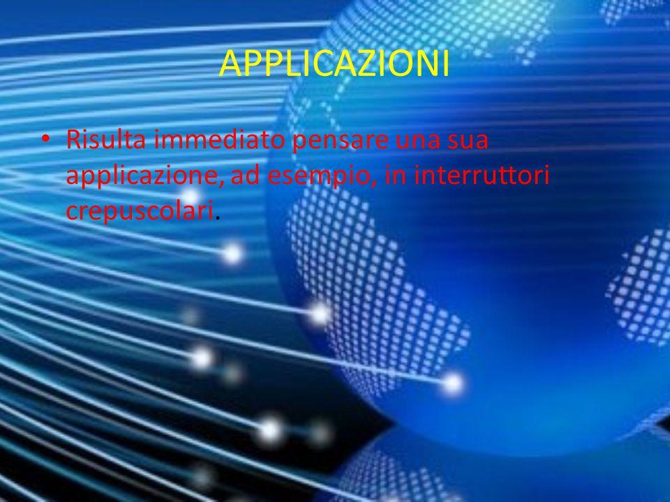 APPLICAZIONI Risulta immediato pensare una sua applicazione, ad esempio, in interruttori crepuscolari.