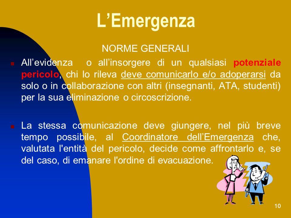 L'Emergenza NORME GENERALI
