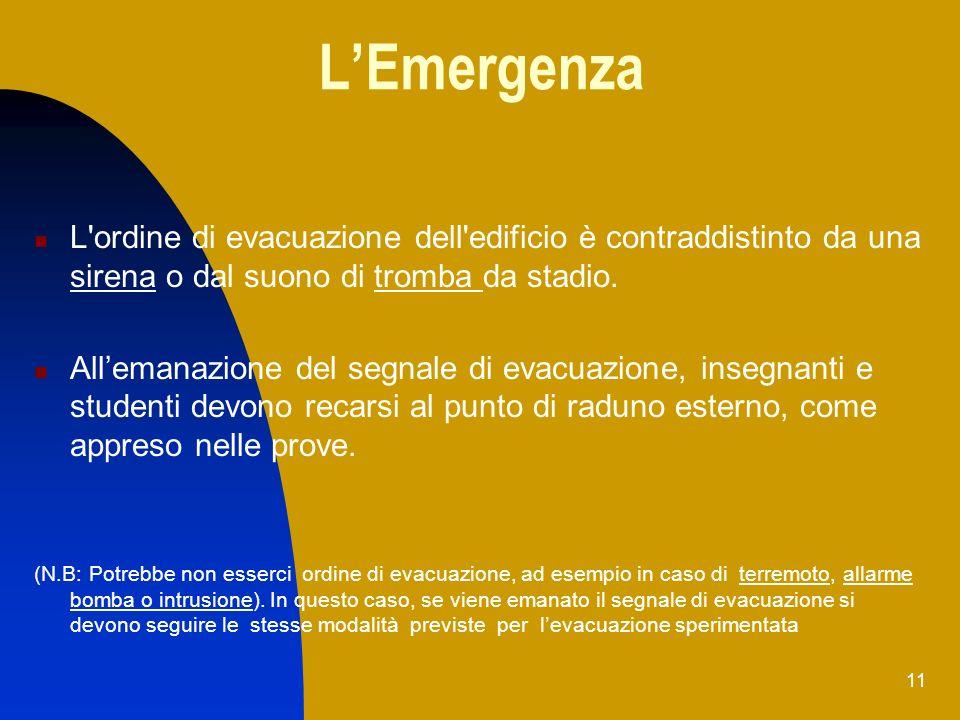 L'Emergenza L ordine di evacuazione dell edificio è contraddistinto da una sirena o dal suono di tromba da stadio.
