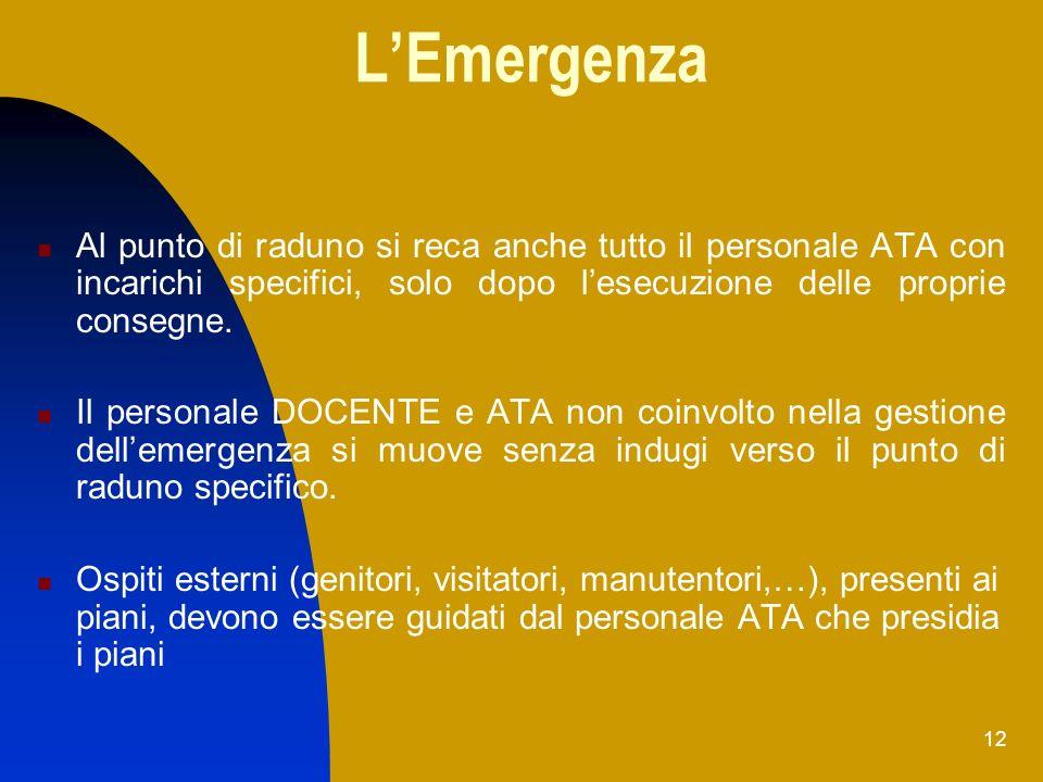 L'Emergenza Al punto di raduno si reca anche tutto il personale ATA con incarichi specifici, solo dopo l'esecuzione delle proprie consegne.
