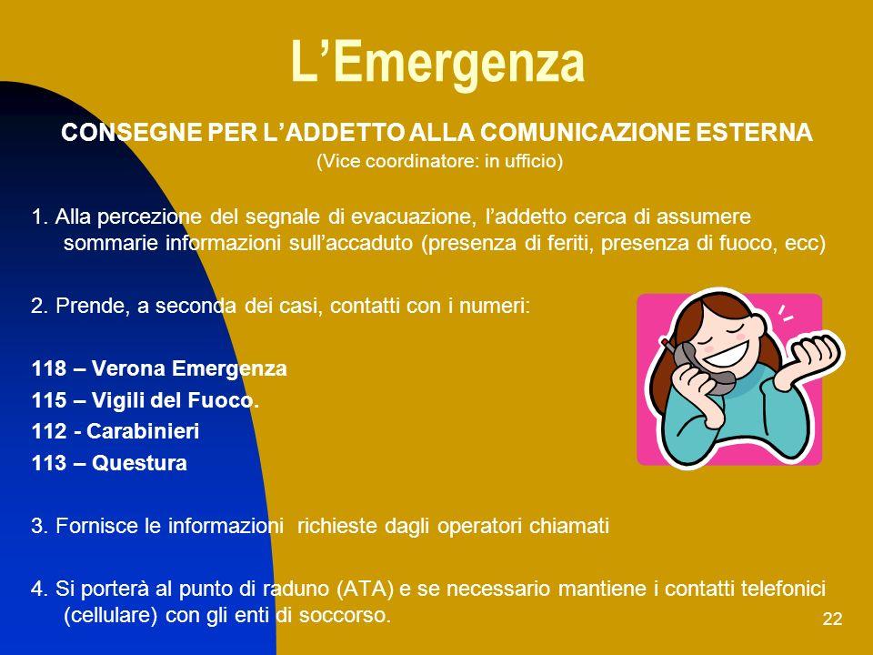 L'Emergenza CONSEGNE PER L'ADDETTO ALLA COMUNICAZIONE ESTERNA