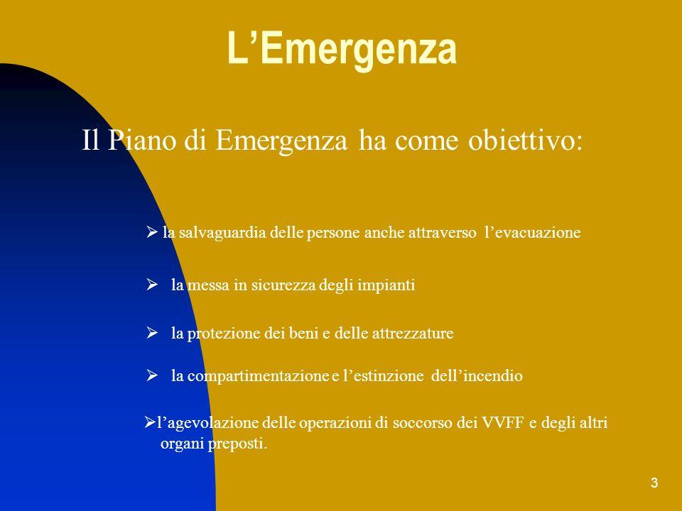 L'Emergenza Il Piano di Emergenza ha come obiettivo: