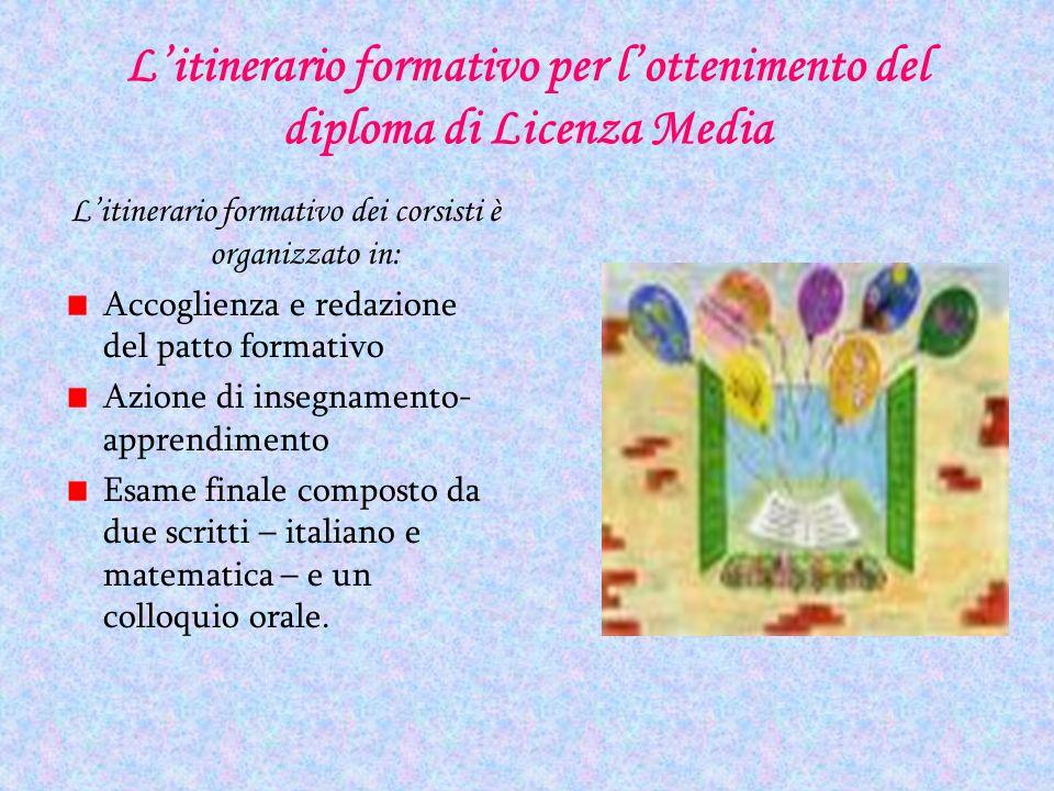 L'itinerario formativo per l'ottenimento del diploma di Licenza Media