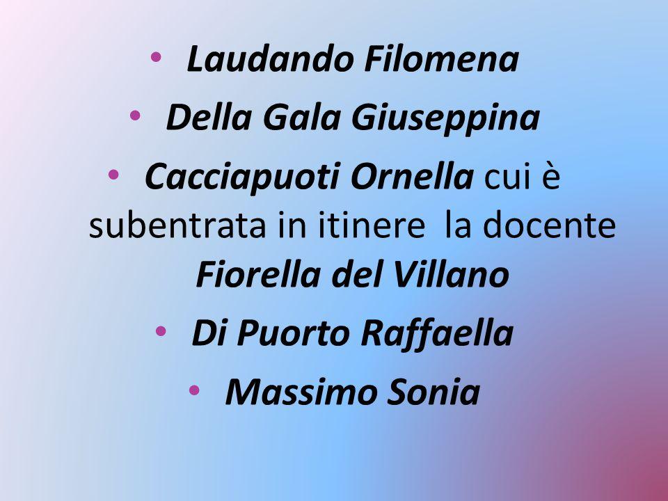 Laudando Filomena Della Gala Giuseppina. Cacciapuoti Ornella cui è subentrata in itinere la docente Fiorella del Villano.