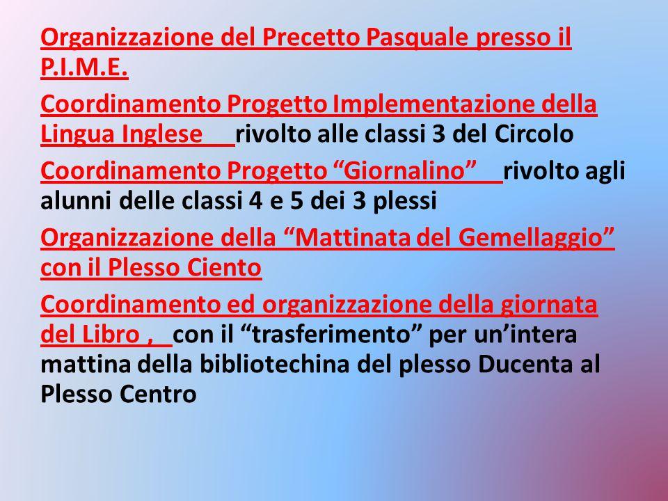Organizzazione del Precetto Pasquale presso il P. I. M. E