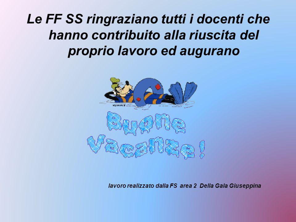 Le FF SS ringraziano tutti i docenti che hanno contribuito alla riuscita del proprio lavoro ed augurano lavoro realizzato dalla FS area 2 Della Gala Giuseppina
