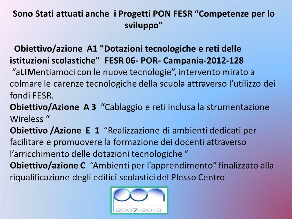 Sono Stati attuati anche i Progetti PON FESR Competenze per lo sviluppo