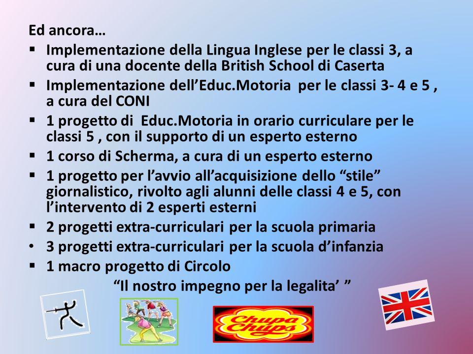 Ed ancora… Implementazione della Lingua Inglese per le classi 3, a cura di una docente della British School di Caserta.