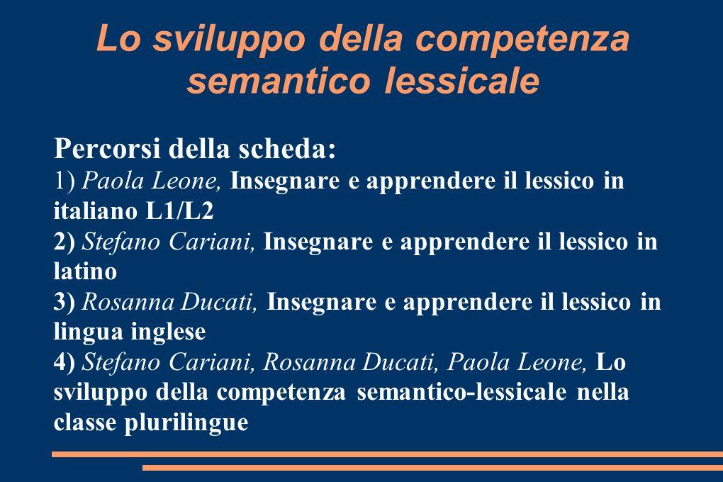 Lo sviluppo della competenza semantico lessicale