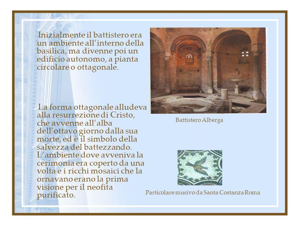 Inizialmente il battistero era un ambiente all'interno della basilica, ma divenne poi un edificio autonomo, a pianta circolare o ottagonale.