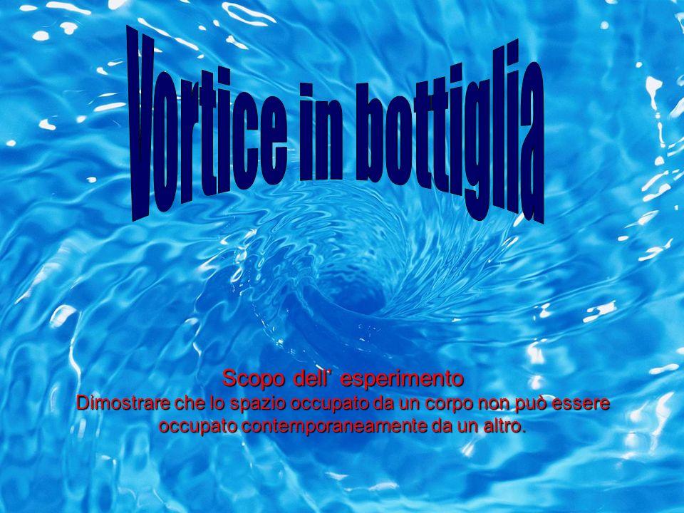 Vortice in bottiglia Scopo dell' esperimento Dimostrare che lo spazio occupato da un corpo non può essere occupato contemporaneamente da un altro.