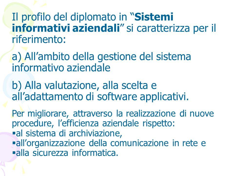 a) All'ambito della gestione del sistema informativo aziendale