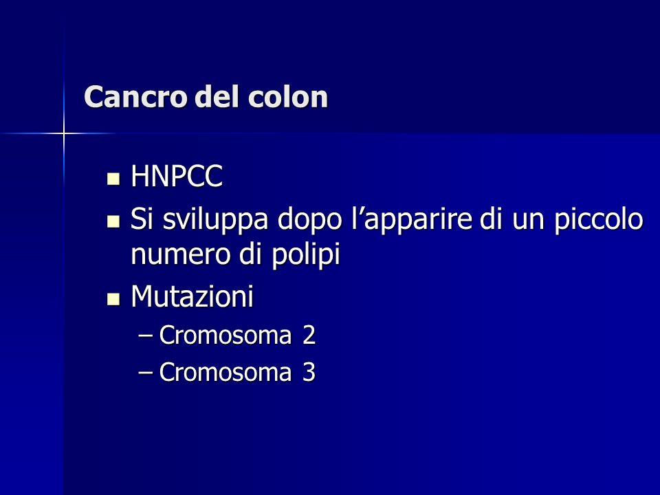 Cancro del colon HNPCC. Si sviluppa dopo l'apparire di un piccolo numero di polipi. Mutazioni. Cromosoma 2.