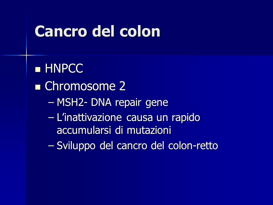 Cancro del colon HNPCC Chromosome 2 MSH2- DNA repair gene