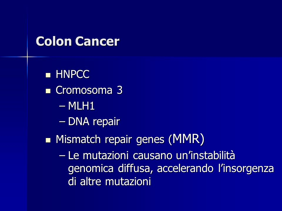 Colon Cancer HNPCC Cromosoma 3 MLH1 DNA repair