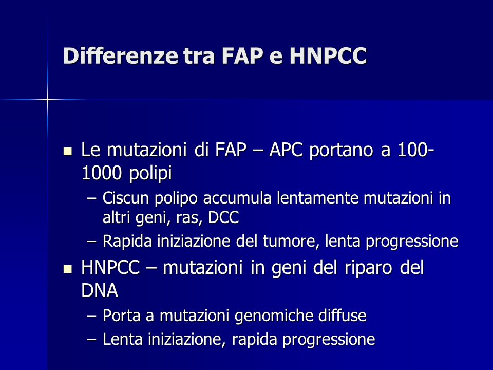 Differenze tra FAP e HNPCC