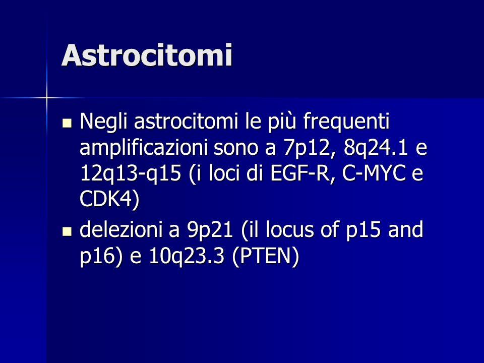 Astrocitomi Negli astrocitomi le più frequenti amplificazioni sono a 7p12, 8q24.1 e 12q13-q15 (i loci di EGF-R, C-MYC e CDK4)
