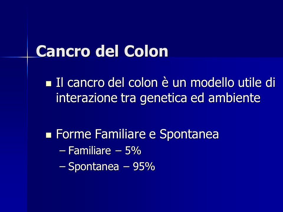 Cancro del Colon Il cancro del colon è un modello utile di interazione tra genetica ed ambiente. Forme Familiare e Spontanea.