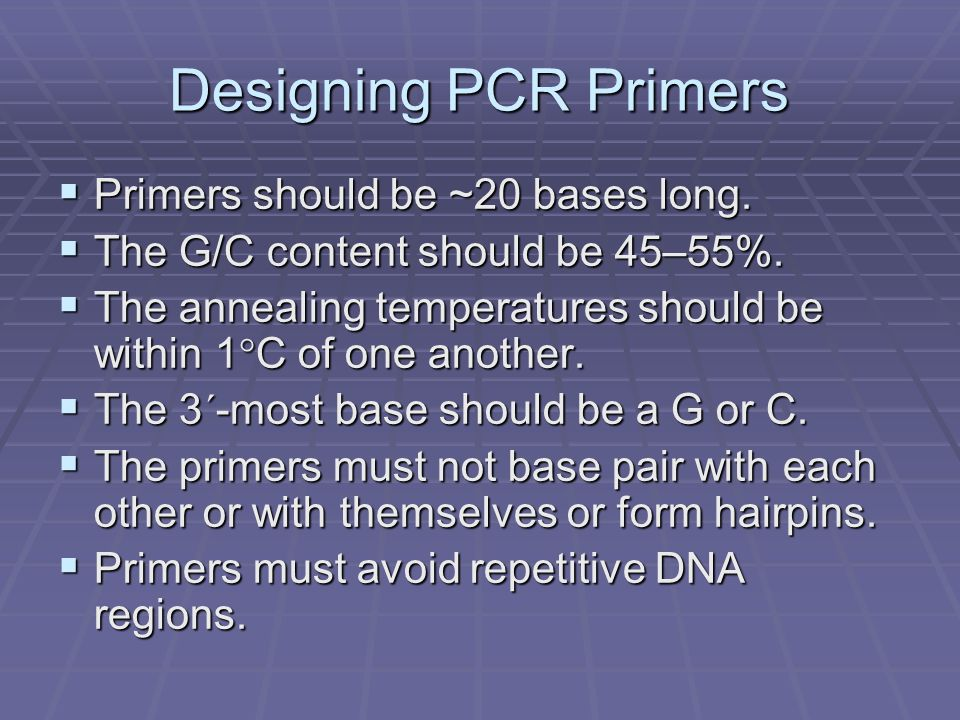 Designing PCR Primers Primers should be ~20 bases long.