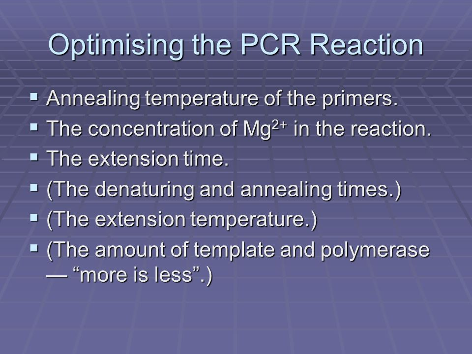 Optimising the PCR Reaction