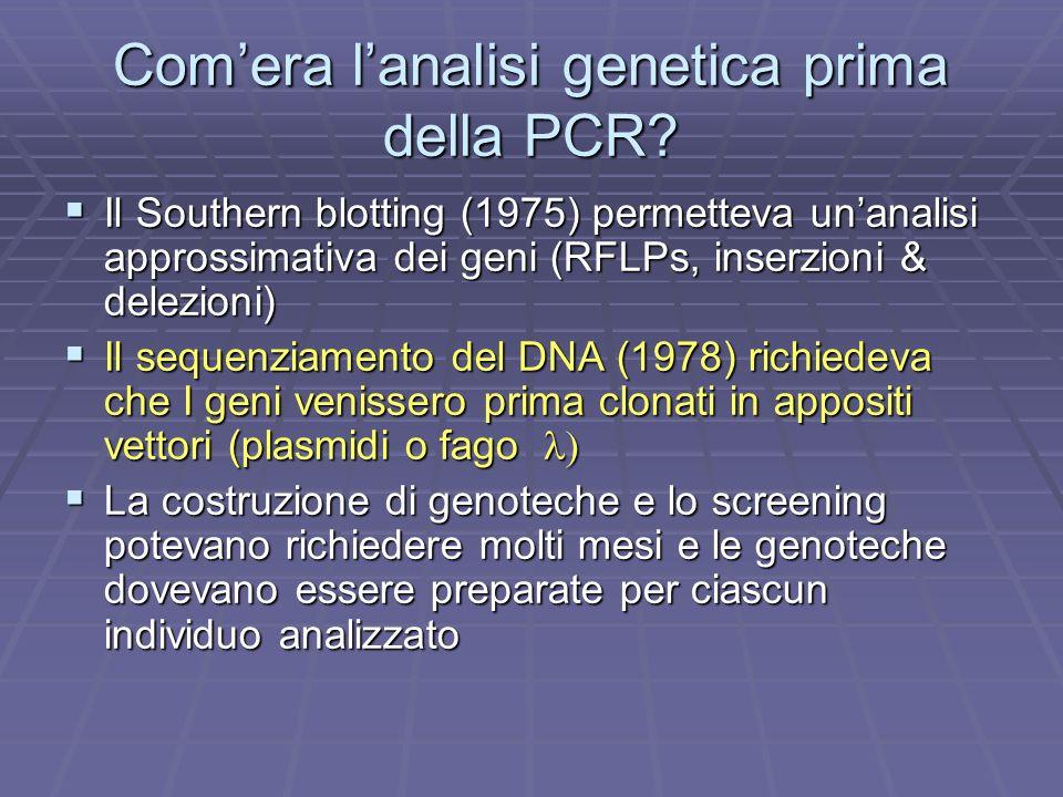 Com'era l'analisi genetica prima della PCR