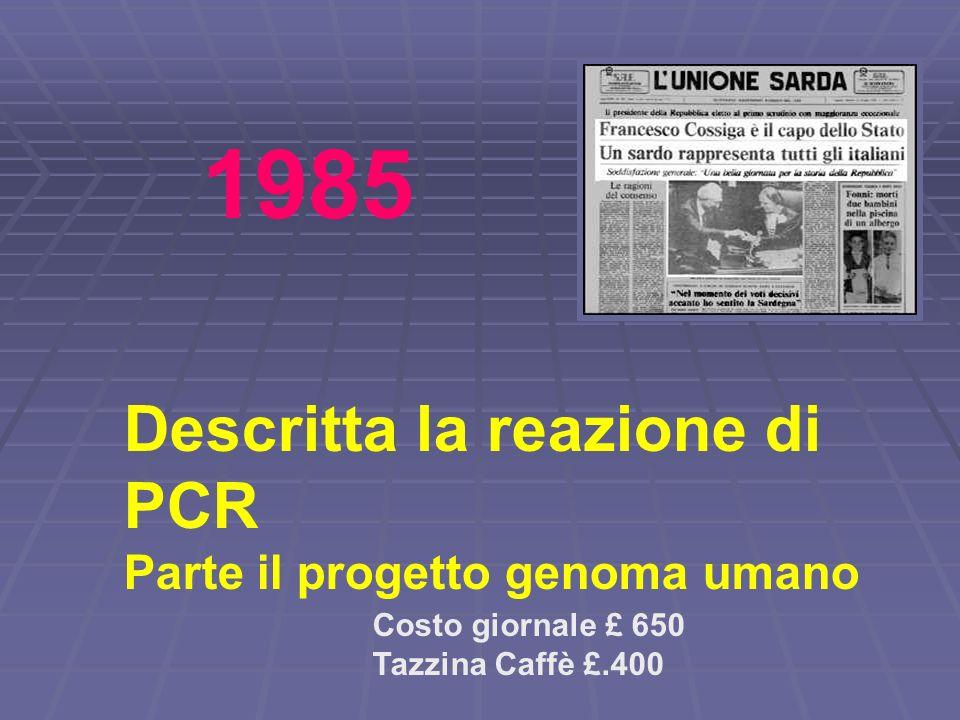 1985 Descritta la reazione di PCR Parte il progetto genoma umano